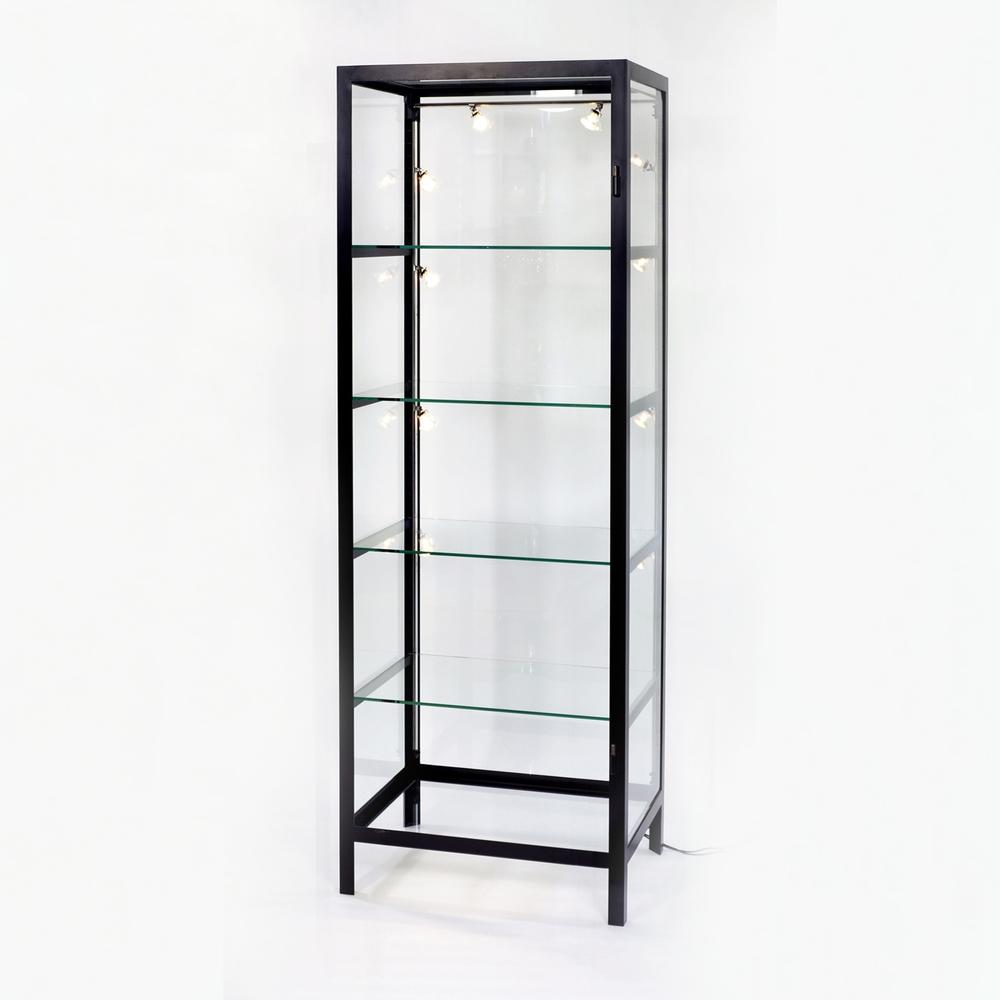 lambert schneewittchen vitrinenschrank ohne t r eisen lackiert schwarz glas mit facetteschliff. Black Bedroom Furniture Sets. Home Design Ideas