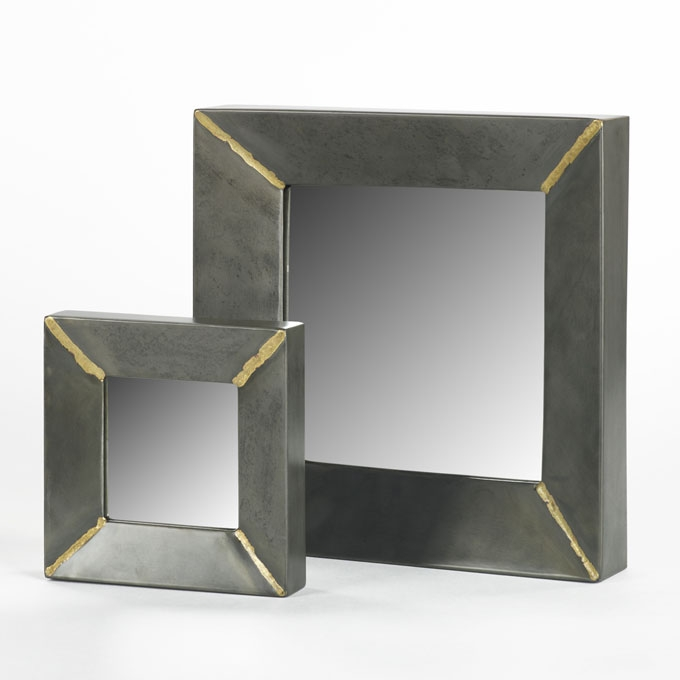 lambert aninanda spiegel quadrat eisen silber grau klein 18x18x4cm gro. Black Bedroom Furniture Sets. Home Design Ideas