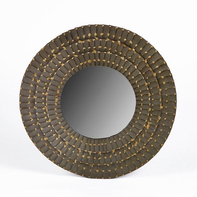 lambert aurel spiegel eisen rund grau gold 59cm. Black Bedroom Furniture Sets. Home Design Ideas