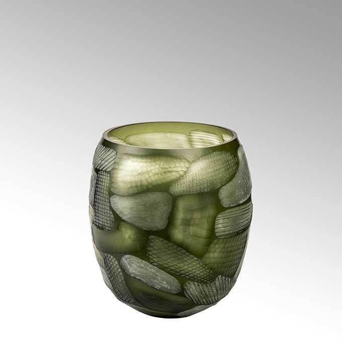 Lambert Silvestro Glas-Vase Facettenstruktur rund