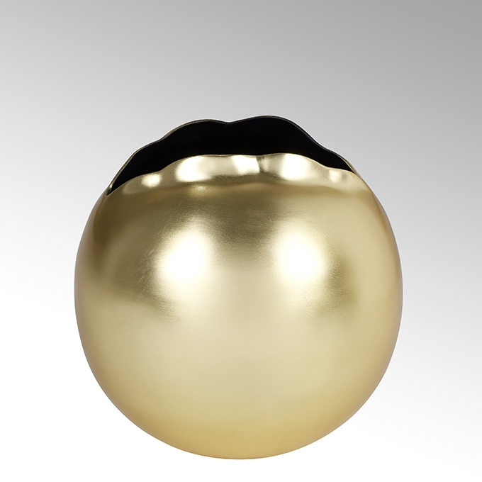 Lambert Boule Gefäß/Übertopf Aluminium rund klein matt gold