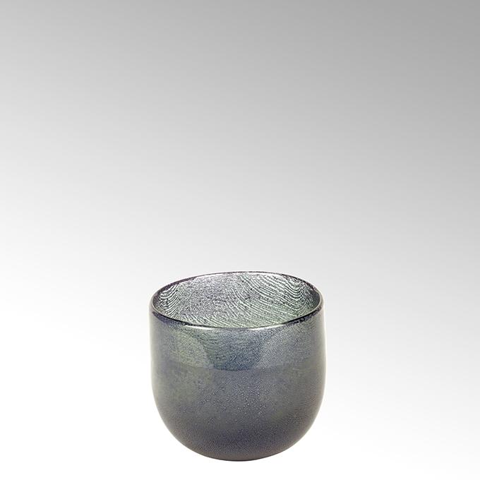 Lambert Cellini Vase rund petrol, H 12 cm