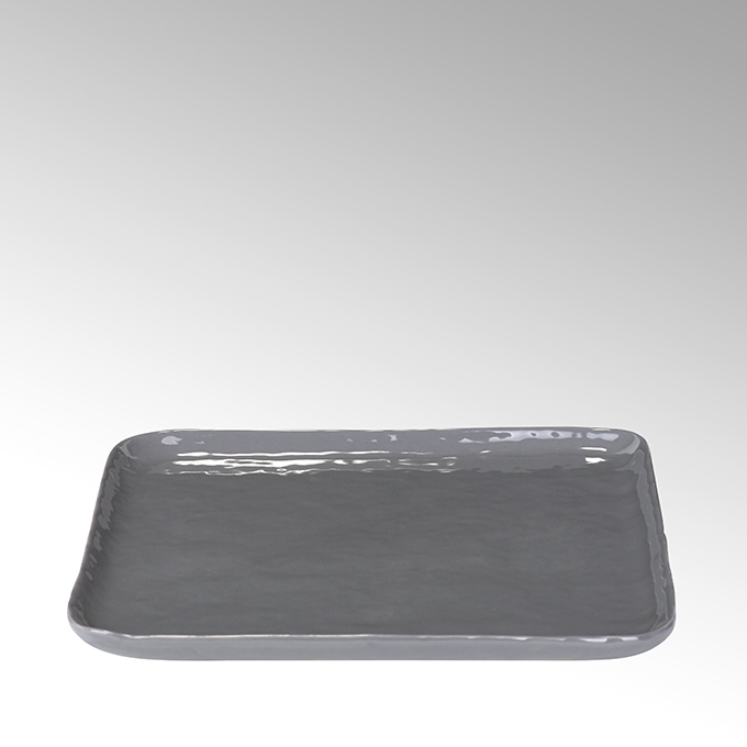 Lambert Piana Teller eckig Stoneware, anthrazit 21 x 21 cm