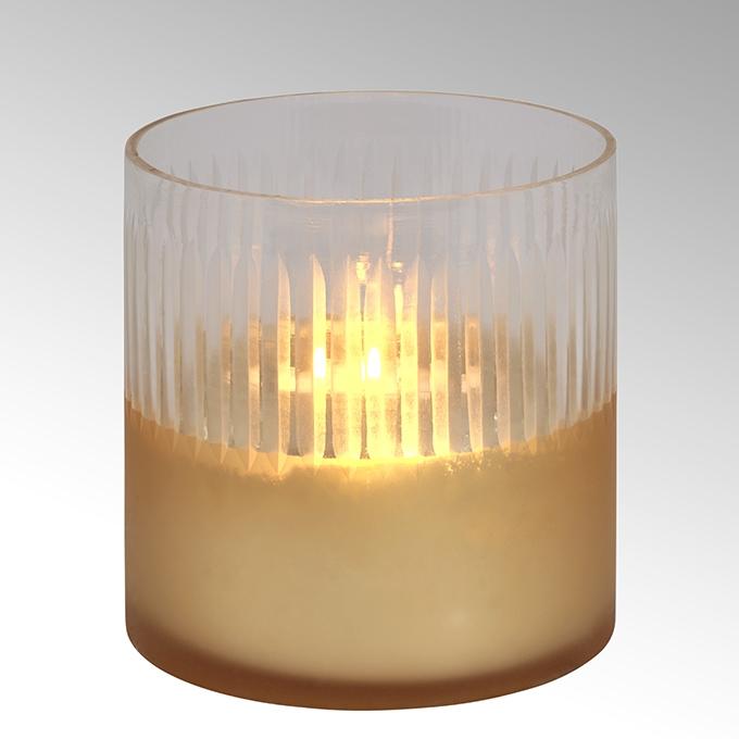 Lambert Raggio Windlicht Glas rund gold/klar groß