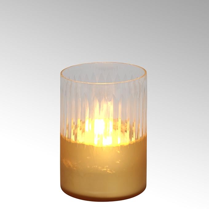 Lambert Raggio Windlicht Glas rund gold/klar klein