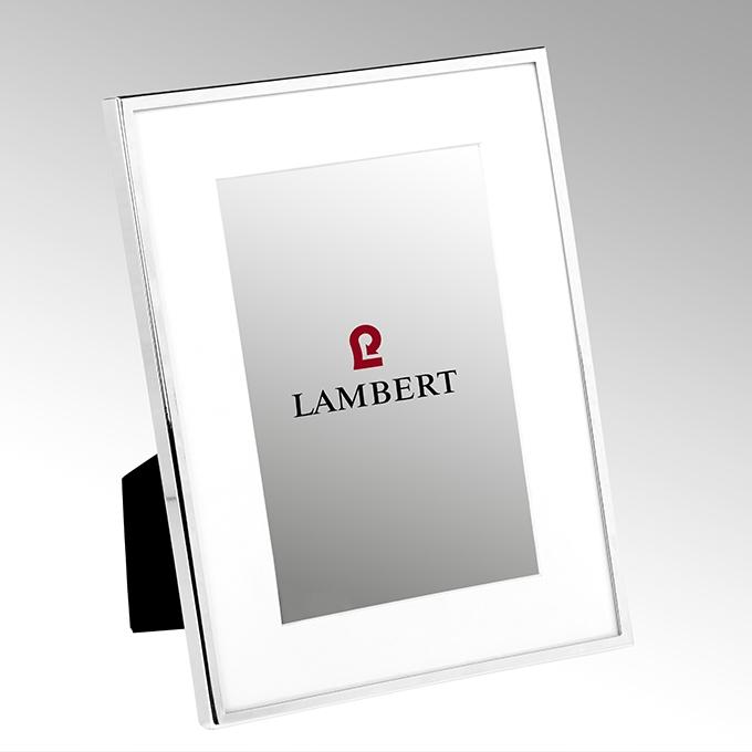 Lambert Portland Bilderrahmen, versilbert, Emaille weiß, 13x18