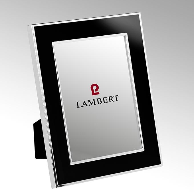 Lambert Portland Bilderrahmen, versilbert, Emaille schwarz, 13x18