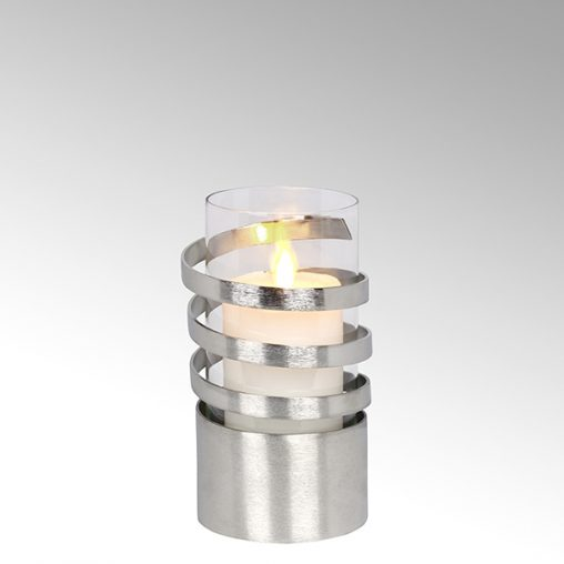 Lambert Spiral Windlicht Aluminium klein